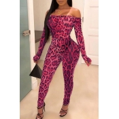 lovely Trendy Dew Shoulder Print Pink One-piece Ju