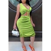 lovely Trendy V Neck Fold Design Knot Design Green