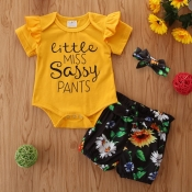 lovely Trendy Letter Print Yellow Girl Two-piece Shorts Set