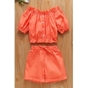lovely Stylish Buttons Design Orange Girl Two-piec