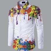 lovely Casual Turndown Collar Print White Shirt