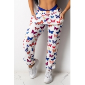 lovely Casual Butterfly Print Multicolor Pants