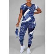 Lovely Leisure O Neck Print Blue Two Piece Pants Set