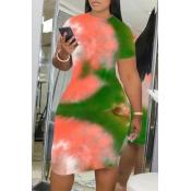 Lovely Leisure O Neck Tie-dye Green Knee Length Pl