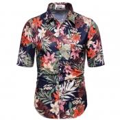 lovely Bohemian Turndown Collar Plants Print Dark Blue Shirt
