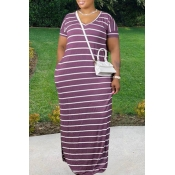 Lovely Leisure V Neck Striped Purple Maxi Plus Siz