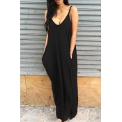 Lovely Leisure Pocket Patched Black Maxi Dress