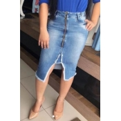 lovely Trendy Zipper Design Blue Denim Skirt