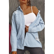 lovely Casual Broken Holes Baby Blue Denim Jacket