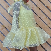 lovely Sweet Dot Print See-through Yellow Mini Dre
