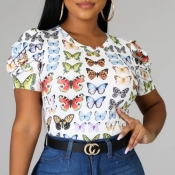 lovely Leisure O Neck Butterfly Print Multicolor T