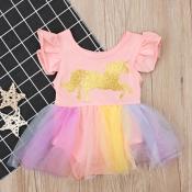 lovely Sweet Print Patchwork Pink Girl Mini Dress