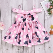 lovely Sweet Print Pink Girl Knee Length Dress