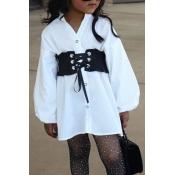 lovely Casual Bandage Design White Girl Knee Lengt