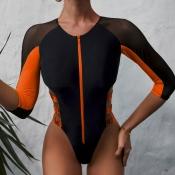 lovely Patchwork CrociOne-piece Swimsuit