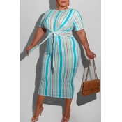 lovely Leisure O Neck Pinstripe Blue Mid Calf Plus