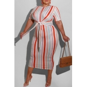 lovely Leisure O Neck Pinstripe Orange Mid Calf Pl