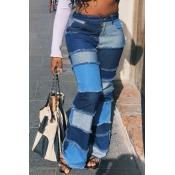 lovely Stylish Patchwork Blue Plus Size Jeans