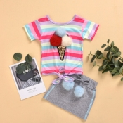 lovely Casual Rainbow Striped Multicolor Girl Two-