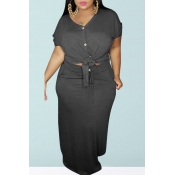 lovely Casual Buttons Design Grey Plus Size Two-pi