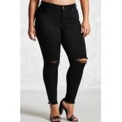 lovely Casual Broken Holes Black Plus Size Jeans