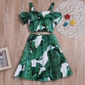lovely Bohemian Plants Print Green Girl Two-piece