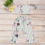 lovely Casual Striped Print White Girl Two-piece P