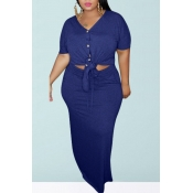 lovely Casual Buttons Design Blue Plus Size Two-pi