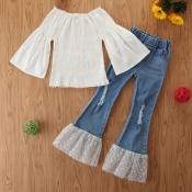 lovely Stylish Patchwork White Girl Two-piece Pants Set