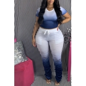 Lovely Casual Gradual Change Deep Blue Plus Size T