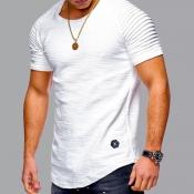 lovely Casual O Neck Fold Design White T-shirt