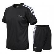 lovely Sportswear O Neck Patchwork Black Two-piece