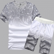 lovely Casual Gradual Change Print Grey Two-piece