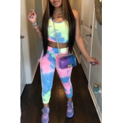 lovely Sportswear U Neck Tie Dye Multicolor Two Pi