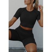 lovely Sportswear Skinny Black Two-piece Shorts Se