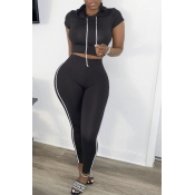 lovely Sportswear Patchwork Black Two-piece Pants