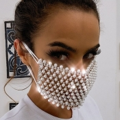 lovely Rhinestone Hollow-out Silver Face Mask