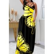 Lovely Stylish Butterfly Print Black Maxi Dress