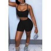 lovely Sportswear Basic Skinny Black Two-piece Sho