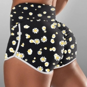 lovely Sportswear Floral Print Black Shorts