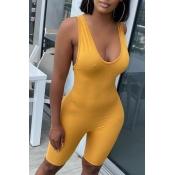 lovely Sportswear Skinny Yellow One-piece Romper
