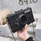 lovely Chic Camera Black Crossbody Bag
