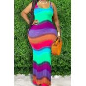 lovely Bohemian Rainbow Striped Cyan Maxi Plus Siz