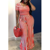 lovely Street Striped Red Plus Size Two-piece Pant