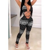Lovely Sexy Print Black One-piece Jumpsuit