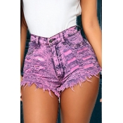 lovely Street Torn Edges Purple Denim Shorts