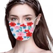 lovely Floral Print White Face Mask