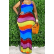 Lovely Bohemian Rainbow Striped Blue Maxi Plus Siz