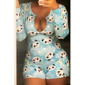 Lovely Casual Print Baby Blue Loungewear