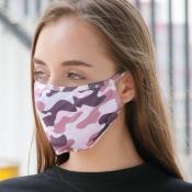 lovely Camo Print Purple Face Mask